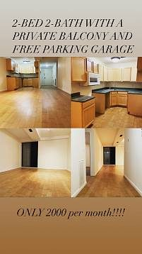 Outstanding 2-BED, 2-BATH apartment for rent with a private balcony and free garage parking